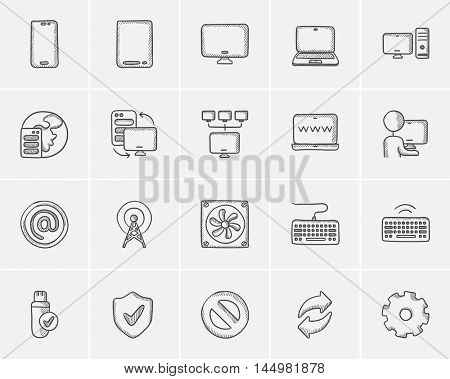 Technology sketch icon set for web, mobile and infographics. Hand drawn technology icon set. Technology vector icon set. Technology icon set isolated on white background.