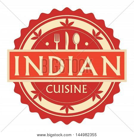Abstract stamp or label with the text Indian Cuisine written inside, traditional vintage food label, with spoon, fork, knife symbols, vector illustration