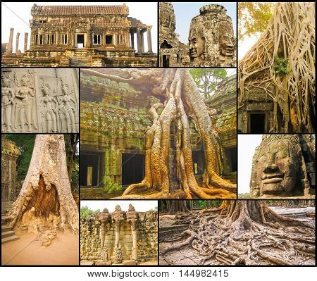 The collage of images of Angkor Wat in Cambodia. Angkor Wat - is the largest Hindu temple complex and the largest religious monument in the world.