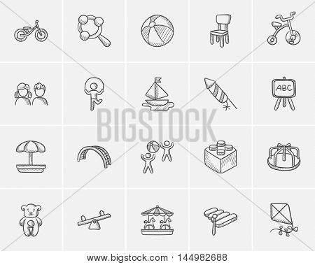 Kids sketch icon set for web, mobile and infographics. Hand drawn kids icon set. Kids vector icon set. Kids icon set isolated on white background.