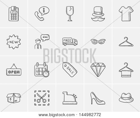 Shopping sketch icon set for web, mobile and infographics. Hand drawn shopping icon set. Shopping vector icon set. Shopping icon set isolated on white background.