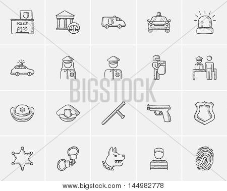 Police sketch icon set for web, mobile and infographics. Hand drawn police icon set. Police vector icon set. Police icon set isolated on white background.
