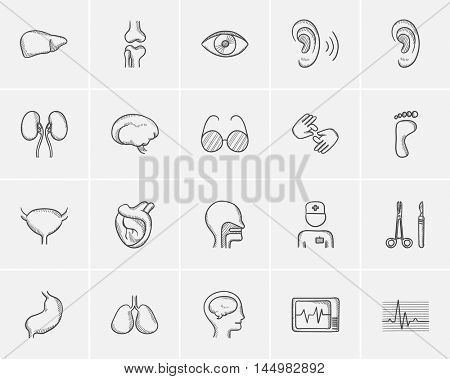 Medicine sketch icon set for web, mobile and infographics. Hand drawn medicine icon set. Medicine vector icon set. Medicine icon set isolated on white background.