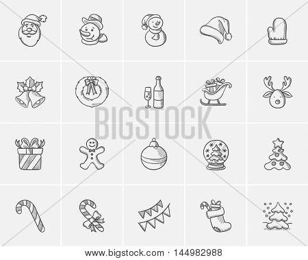 Christmas sketch icon set for web, mobile and infographics. Hand drawn christmas icon set. Christmas vector icon set. Christmas icon set isolated on white background.
