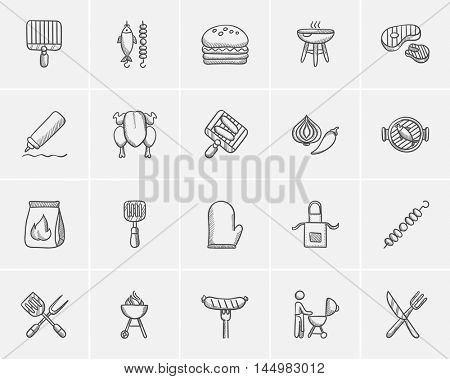 Barbecue sketch icon set for web, mobile and infographics. Hand drawn barbecue icon set. Barbecue vector icon set. Barbecue icon set isolated on white background.