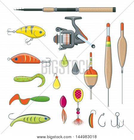Set of Fishing Equipment on White Background. Fishing Tackle in Flat Style.