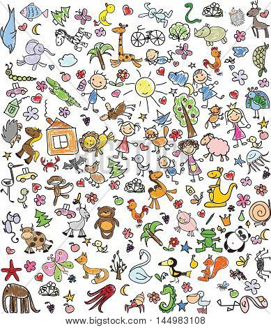 Vector ilustration of Children's drawings of doodle animals