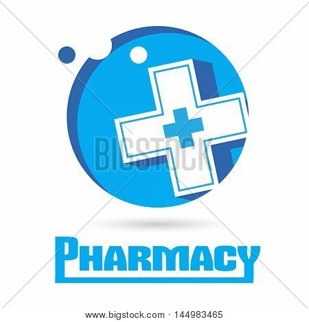 Logo Pharmacies and medicine. Blue plus symbol. template design logo Medical pharmacy.