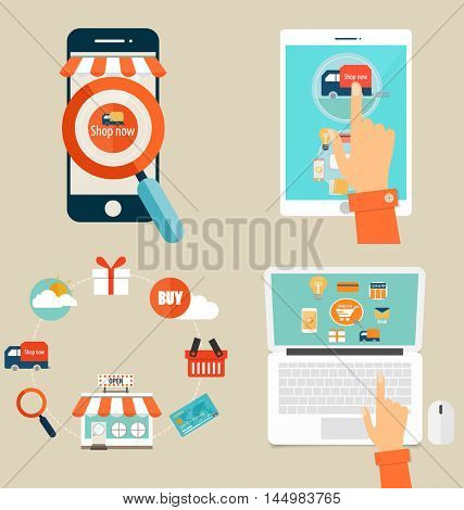 Online shopping. Business concept with business items. Vector Illustration.