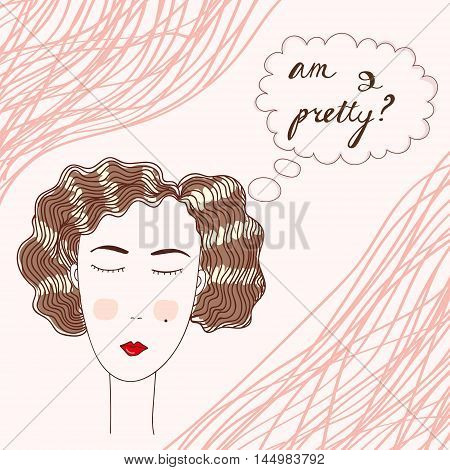 Vector illustration of a young woman in twenties style thinking about own appearance. Augmented with inscription and coral stripes. Fashion and makeup illustration design element.