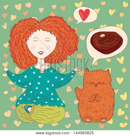 Vector funny illustration with meditating ginger girl with a ginger cat. Illustration for yoga and spiritual practice themes book cover children production and magazines different purposes.