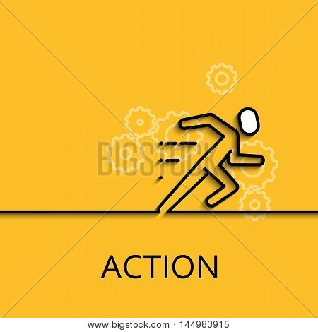 Vector business illustration in linear style with a picture of action as running man on yellow background poster or banner template.