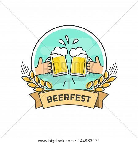 Beer festival vector label isolated on white background, flat hands holding beer glasses with foam and bubbles, beer fest logo with ribbon, creative vintage banner design, outline line style