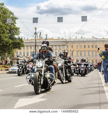 St. Petersburg, Russia - 13 August, Motorcyclists with passengers,13 August, 2016. The annual parade of Harley Davidson in the squares and streets of St. Petersburg.