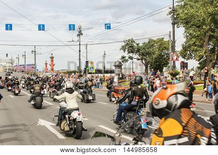 St. Petersburg, Russia - 13 August, Directions motorcyclists to the Palace Bridge,13 August, 2016. The annual parade of Harley Davidson in the squares and streets of St. Petersburg.