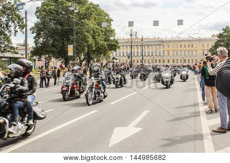 St. Petersburg, Russia - 13 August, Passing by the audience motorcyclists,13 August, 2016. The annual parade of Harley Davidson in the squares and streets of St. Petersburg.