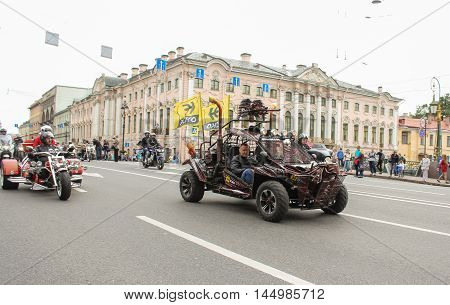 St. Petersburg, Russia - 13 August, Exclusive motorcycles on a background of historic buildings,13 August, 2016. The annual parade of Harley Davidson in the squares and streets of St. Petersburg.