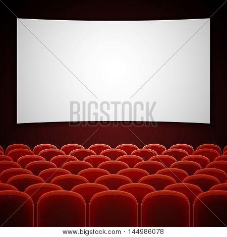 Cinema movie hall with white blank screen. Empty interior for presentation new film. Vector illustration