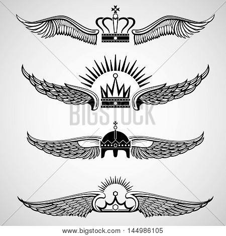 Wings with crowns vector emblems. Set of decorative tattoo illustration