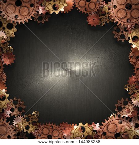 copper and brass gears border on the black metallic wall. 3d illustration. material design. vintage style background.