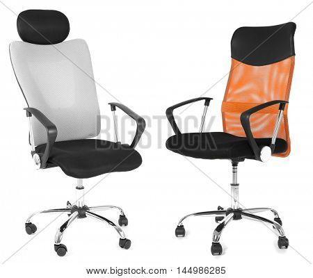 Office chairs isolated on white