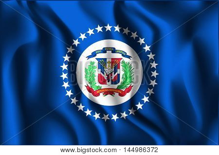 Flag Of Dominican Republic. Rectangular Shape Icon With Wavy Effect