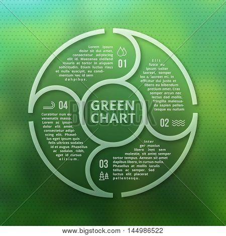 Green forest eco infographic on unfocused blurred smooth creative background. Ecology nature graphic plan. Vector illustration