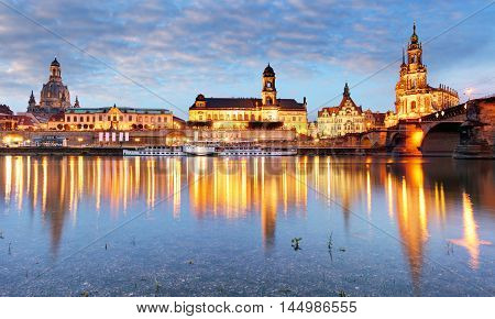 Dresden Germany old town skyline on the Elbe River.
