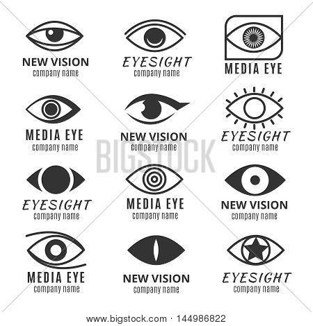 Eye, see, vision media logos vector set. Logotype with human pupil illustration