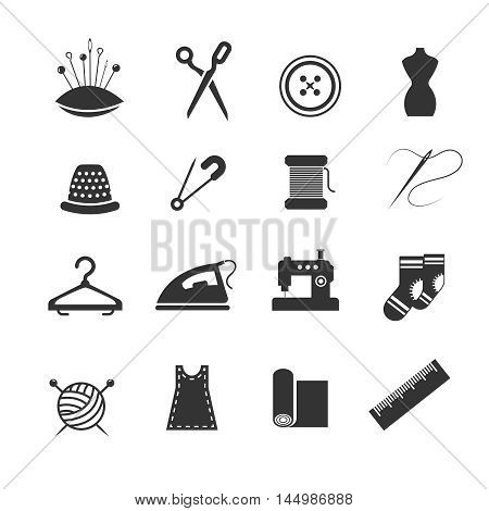 Sewing fashion needlework tailor vector icons. Tailoring and dressmaking craft illustration