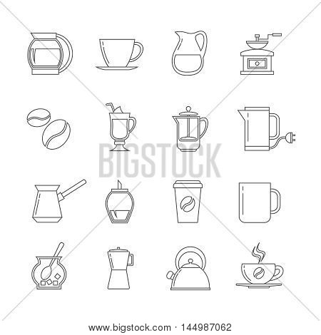 Coffee thin line vector icons set. Tasty latte with sugar, hot beverage in linear style illustration