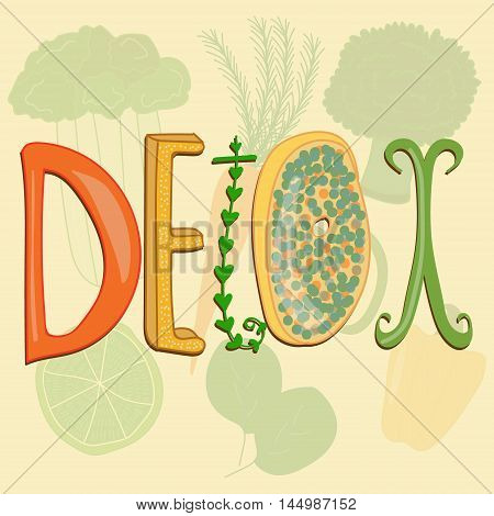 Vector stylized sign for detox thematic sources on vegetable background. Food and healthy lifestyle themes detox sources illustration kitchen and catering design.