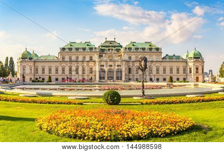 Frontal view at Belvedere palace Vienna Austria