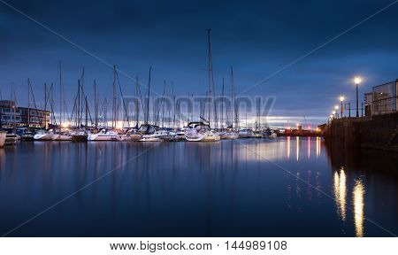 Early morning lights on the River Tawe and Swansea Marina