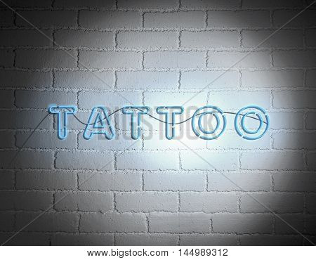 Sign Tattoo on white brick wall background