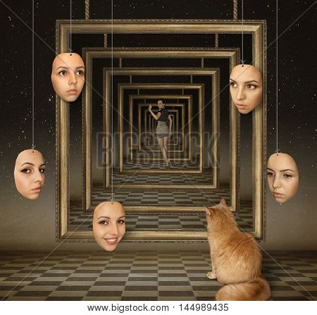 Masks hang on strings. A cat is watching a girl.