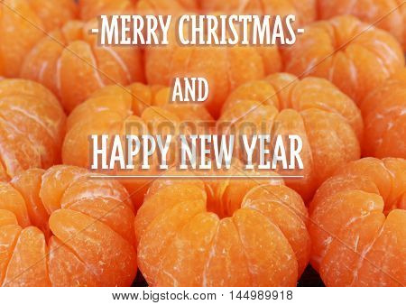 Christmas card. Tangerines close-up