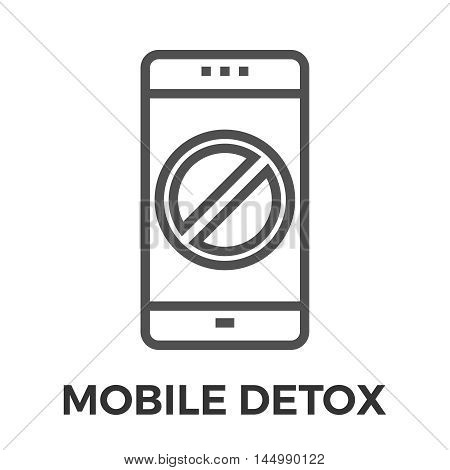 Mobile detox thin line vector icon isolated on the white background.