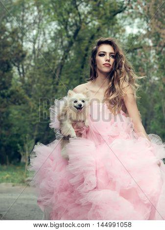Fashionable Woman With Dog