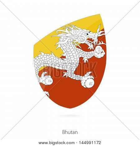 Flag of Bhutan in the style of Rugby icon. Vector Illustration.