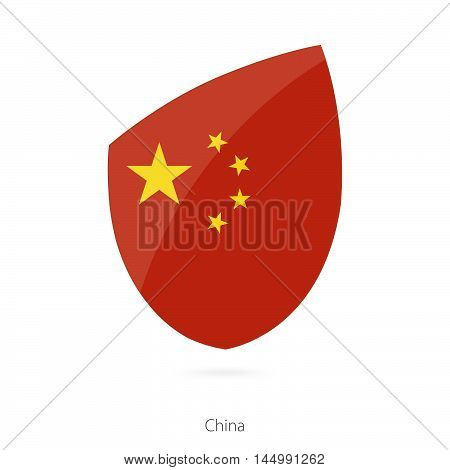 Flag of China in the style of Rugby icon. Vector Illustration.