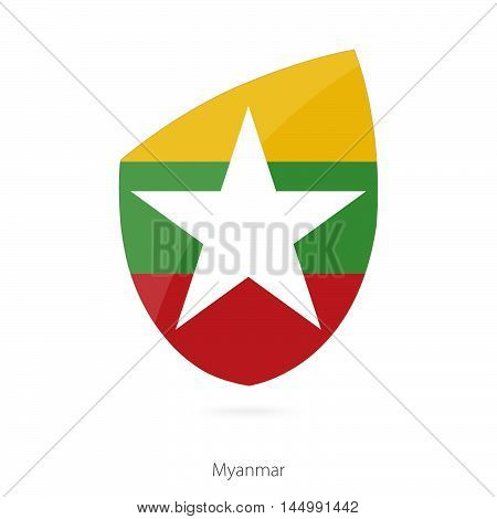 Flag of Myanmar in the style of Rugby icon. Vector Illustration.
