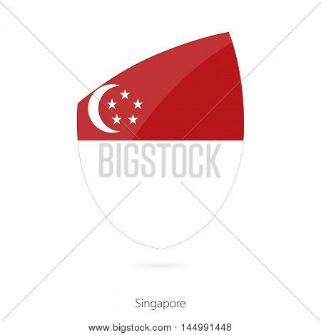 Flag of Singapore in the style of Rugby icon. Vector Illustration.