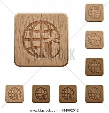 Set of carved wooden internet security buttons in 8 variations.