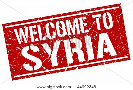 welcome to Syria. stamp. grunge square sign