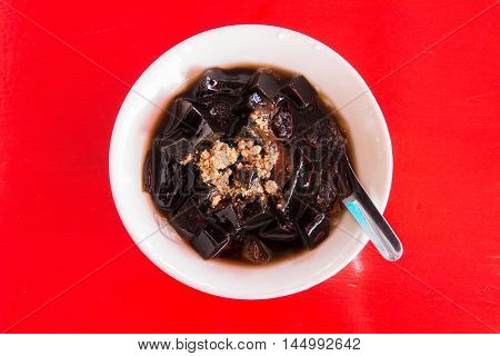 Grass jelly or Chinese vegetable jelly black in color Chinese dessert