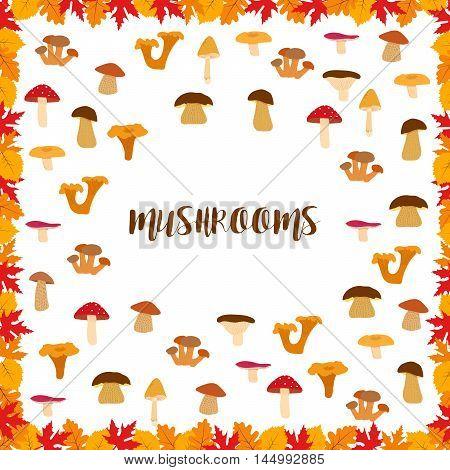 Mushrooms, autumn pattern, frame made of leaves. Vector illustration