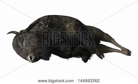 3D rendering of a bison isolated on white background