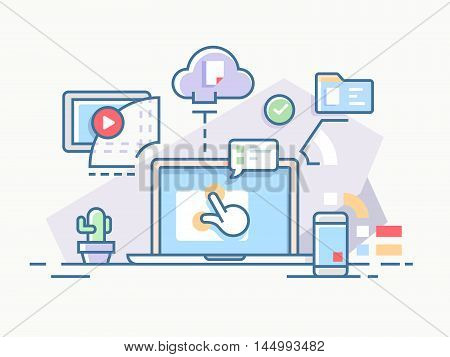 Interactive workflow process using computers and cloud services. Vector illustration.