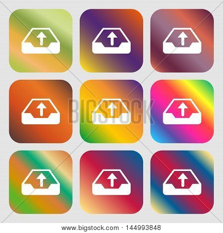 Backup Icon . Nine Buttons With Bright Gradients For Beautiful Design. Vector
